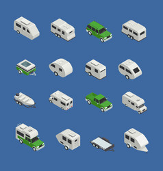 recreational vehicles isometric icons set vector image