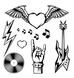 rock and roll music objects vector image