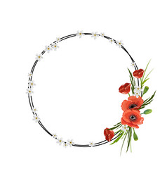 round frame with red poppies isolated on white vector image