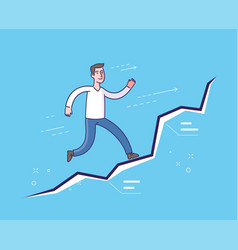 Running businessman on diagram business concept vector
