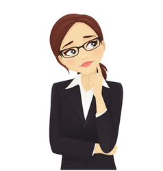 Sad businesswoman thinking vector