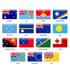 set of all flags of the countries of oceania vector image