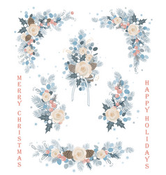 set of christmas florals blooming branches vector image