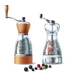 Set of pepper mills with peppercorns vector