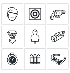 Set of Shooting Range Icons Soldier Shoot vector