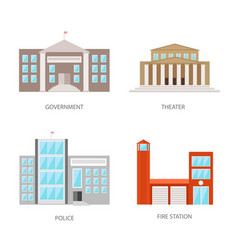 set of urban buildings in a flat style government vector image