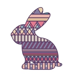 Silhouette rabbit easter with decorative texture vector