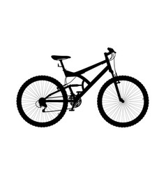 silhouette two suspension mountain bike vector image