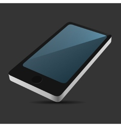 Smartphone 3D View Icon in Flat Style on Dark vector