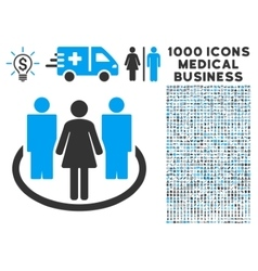 Society Icon with 1000 Medical Business Pictograms vector image