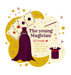 the young wizard or magican magic game template vector image