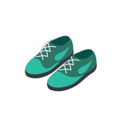 Turquoise shoes with laces icon isometric 3d style vector image