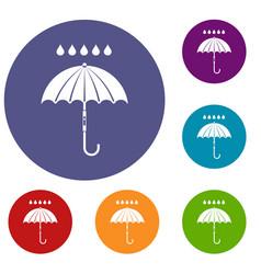 umbrella and rain drops icons set vector image