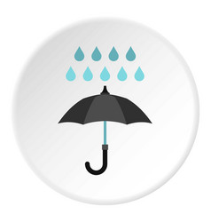 umbrella and rain icon circle vector image