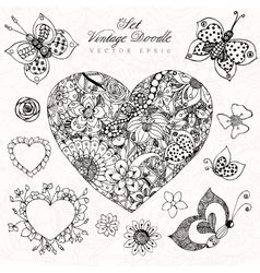vintage heart set zentangl in vector image