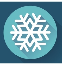 White snowflake flat icon with long shadow vector image