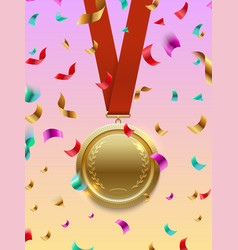 winner concept - gold medal on red ribbon vector image vector image