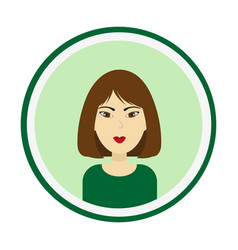 Woman portrait girl face with brown hair vector