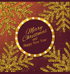 year background with gold snowflakes vector image