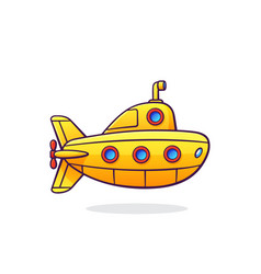yellow submarine with periscope and portholes vector image