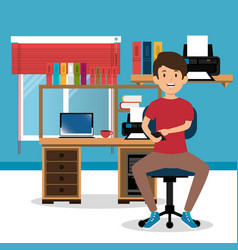 young man in the workplace office vector image