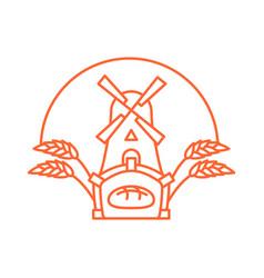 bakery logo linear style store bread emblem vector image
