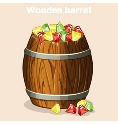 Cartoon wooden barrel full of colorful gems game vector image vector image