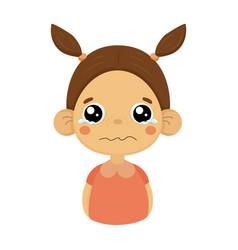 crying little girl flat cartoon portrait emoji vector image vector image