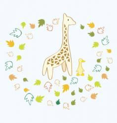 giraffe and duck vector image vector image