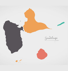 guadeloupe map with states and modern round shapes vector image