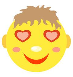 in love smiley boy vector image