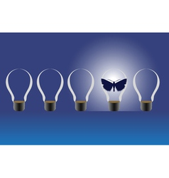 Light bulbs and a butterfly vector image vector image
