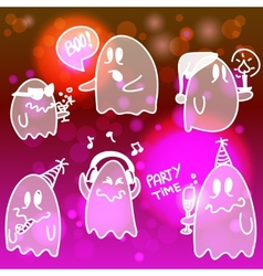 Set of halloween ghosts vector image