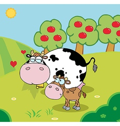 Baby And Mommy Cow In A Pasture vector image vector image
