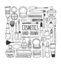Cosmetics set in doodle style vector