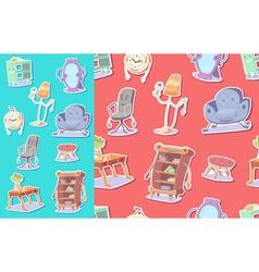 Cute furniture seamless pattern vector image