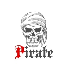 Dead pirate skull symbol for tattoo design vector