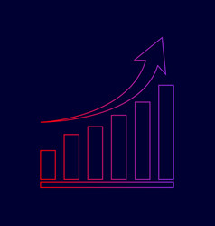 growing graph sign line icon with vector image