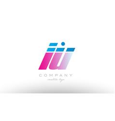 iu i u alphabet letter combination pink blue bold vector image vector image