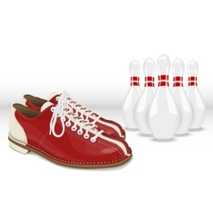 Red-White Skittles and Bowling shoes vector image vector image