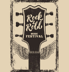 rock and roll festival poster template guitar vector image