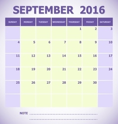Calendar September 2016 week starts Sunday vector image