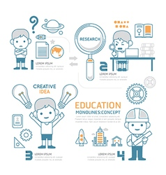 Flat mono line Infographic Education People work vector image vector image