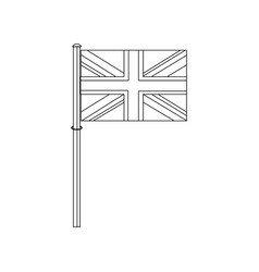great britain flag on a silver metallic pole vector image