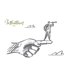 Hand drawn man standing on finger with spyglass vector image vector image
