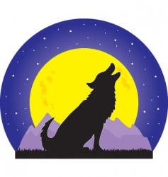wolf and moon vector image vector image