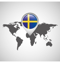 world map with pointer flag sweden vector image vector image