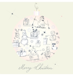 card with snowmans vector image vector image
