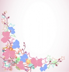 design with orchids and stars vector image