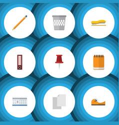flat icon stationery set of trashcan pushpin vector image vector image